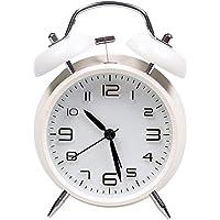 AndThere Reloj Despertador Analogico de Cuarzo Silencioso sin Tictac Despertador Vintage Retro Alarma Despertador de Metal Ruidoso Campana Doble con Luz Nocturna para Niños Oficina Hogar Dormitorio