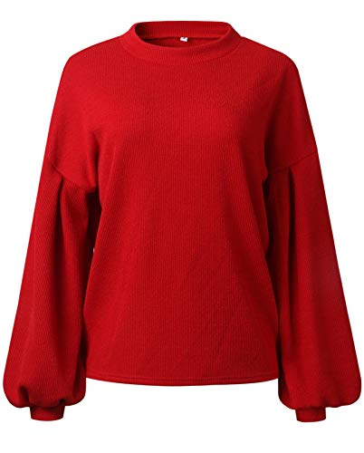 Langarm Ballonärmeln Ballon-Ärmel Lantern Sleeve Hohem Ausschnitt Loose Fit Pullover Strickpullover Sweater Jump Oberteil Top Rot XL -