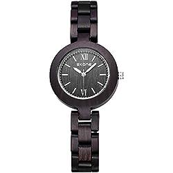 Alienwork Quartz Watch natural solid wood Wristwatch Handmade Maplewood black black UWQ7400-01
