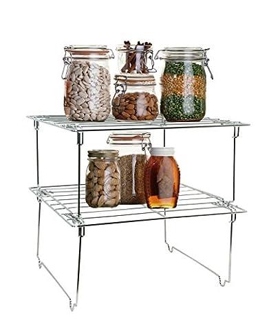 Lado Chrome Metal Kitchen Rack Storage Shelf 2 Levels (SI-K1008) - 15'' L x 8.75'' W x 6.75'' H