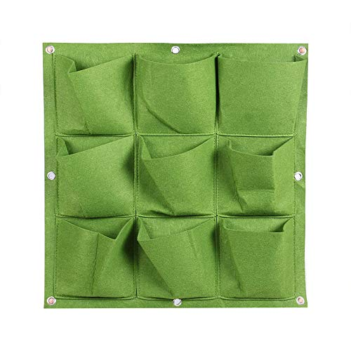 HibiscusElla Outdoor Indoor 9 Pocket Vertical Gardening Hanging Wall Planting Bags Seedling Wall Planter Growing Bags Home Supplies