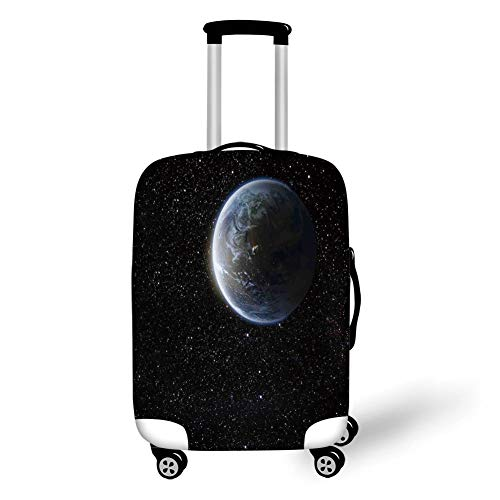 Travel Luggage Cover Suitcase Protector,Galaxy,Scenic View of Planet Earth from Moon Dark Cosmos Crater Sci Fi Theme Image Print,Blue Black,for Travel L