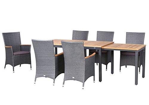 13-teilige Luxus Aluminium Teak Polyrattan Geflecht Gartenmöbelgruppe 'Matador' , 6 Diningsessel, 6 Auflage und ein Ausziehtisch Tifosi 160/280x90, anthrazit - titan