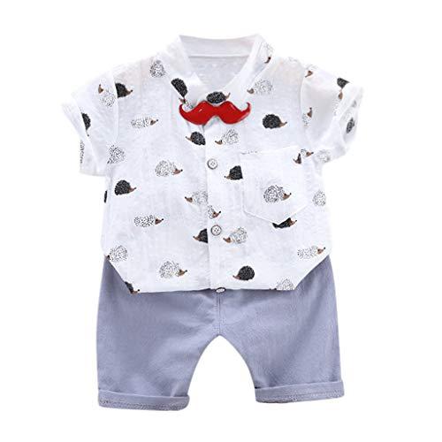 SoundJA Bekleidungsset Baby Kinder Jungen Kurzärmliges T-Shirt mit Karikaturdruck und Gestreiften Shorts Lässig Täglich Party oder Fotoshooting Geschenk 6M-3J (Rot Und Rosa Gestreiften Hemd)