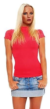 4859 Fashion4Young Damen Kurzarm T-Shirt mit Spitze Top Bluse Shirt Tunika Hemd Stehkragen (S/M=34/36, Coral)
