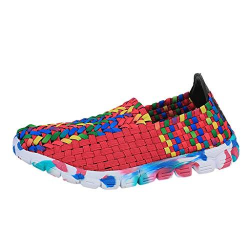 Sommer Gewebte Sandalen Damen,Mode Casual Mischfarben Atmungsaktive Sport Laufschuhe Weich Flache Schuhe Segeltuchschuhe Fitness Rutschfeste Freizeitschuhe