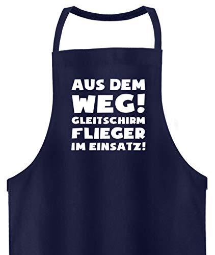 shirt-o-magic Gleitschirmfliegen: Gleitschirmflieger im Einsatz! - Hochwertige Grillschürze -Einheitsgröße-Dunkel-Blau
