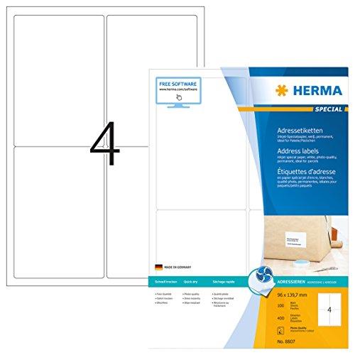 Herma 8807 Tintenstrahldrucker Adressetiketten für Pakete u. Päckchen (96 x 139,7 mm, DIN A4...