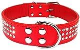 Ximger Hundehalsband, Leder, 3 Reihen mit Strasssteinen, glitzernd, für mittelgroße und große Hunde