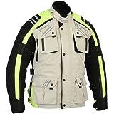 a4d8027695b Australian Bikers Gear The Storm - Chaqueta de moto en color beige   negro  y alta