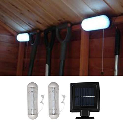 Lámpara LED de techo solar montado en la pared, luz solar para garaje, cobertizo, trabajo, luz de trabajo con panel solar separado para jardín al aire libre interior seguridad invernadero Características: Alimentado por un panel solar independiente q...