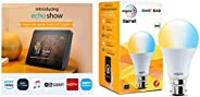 Echo Show (Black) bundle with Wipro white smart bulb