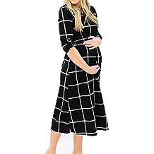Elecenty Damen Lange Umstandskleidung Pflege Abendkleider Boho Sommerkleid Frauen Umstandskleid Chic Schwangerschaftskleid Langarm Umstandsmode Umstandskleid Lose Kleid Kleidung