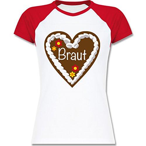 Shirtracer JGA Junggesellinnenabschied - Lebkuchenherz Braut - Zweifarbiges Baseballshirt/Raglan T-Shirt für Damen Weiß/Rot