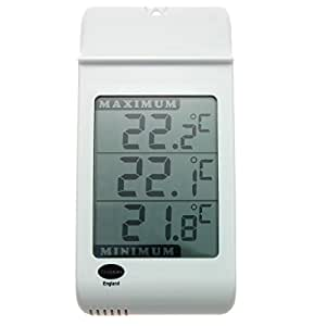 Large Digital Max Min Thermometer in White - Indoor Outdoor Garden Greenhouse Wall