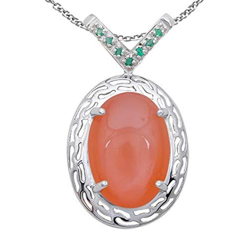 Orchid Jewelry Anhänger Mondstein Smaragd - Charms Ring, Halskette, Geburtsstein