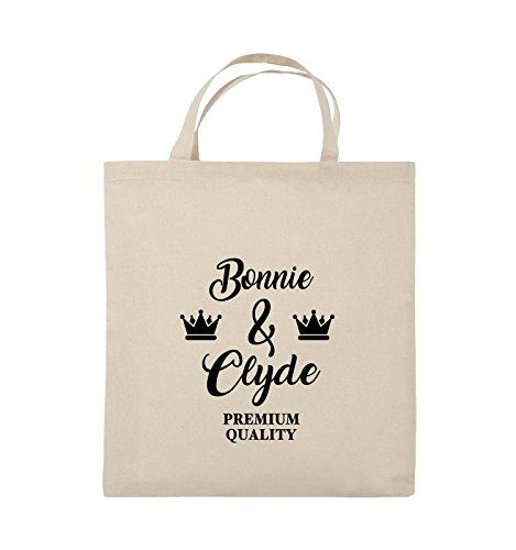 Comedy Bags - Bonnie & Clyde - PREMIUM MOTIV - Jutebeutel - kurze Henkel - 38x42cm - Farbe: Schwarz / Silber Natural / Schwarz