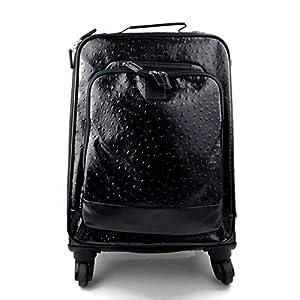 Leder reisekoffer troller schwarz leder reisetasche manner damen mit griff leder tasche reise tasche sporttasche mit 4 rollen pilot tasche