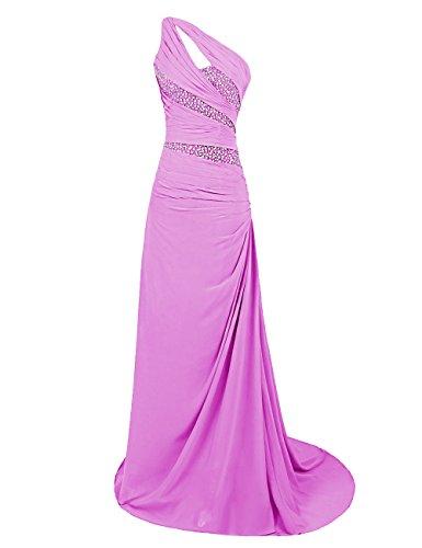 Dresstells Damen Maxi Abendkleider One Shoulder Promi-Kleider Mit Schleppe Lilac