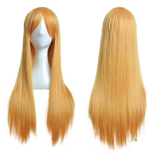 Lange Gerade Cosplay Party Kostüm Haarteile (Gelb) (Blonde Irokesen Perücke)