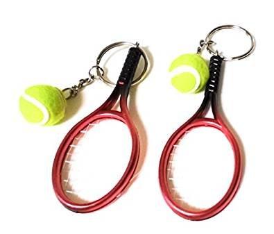 Llavero metálico raqueta y bola de tenis, 2 unidades, Rojo, Small