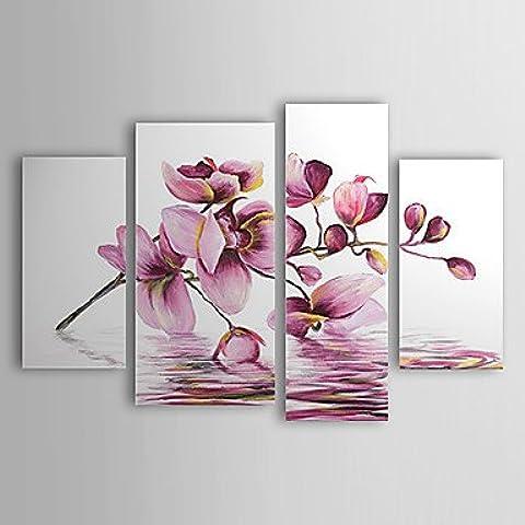 OFLADYH ® dipinti ad olio set di 4 moderni fiori astratti viola in acqua tele dipinte a mano pronti da appendere