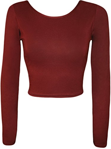 4 weniger Fashion Damen Langärmeliges, bauchfreies Top Round Neck T Shirt Rot - Weinfarben