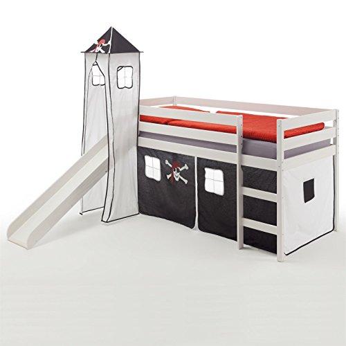 Rutschbett Hochbett Spielbett Bett BENNY Kiefer massiv weiss mit Turm+Vorhang Pirat 90 x 200 cm (B x L) mit Rutsche
