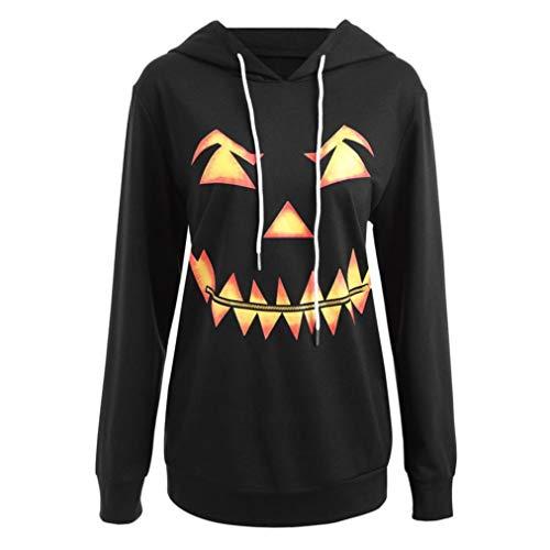TWIFER Damen Pullover mit Kapuze Halloween Kordelzug Hoodie Sweatshirt Kapuzenpullover