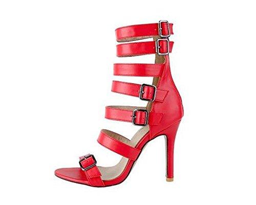 Beauqueen Stivali a caviglia pompe Gladiatore a punta aperta Stiletto Mid Heel Estate Party Sandali Vintage Vintage su misura su misura 32-46 Europa Red