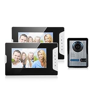 """Excelvan 813FA12 Wired 7 """"TFT Portier Sonnette Système de Sécurité Interphone Accueil Porte Video Night Vision 2 Moniteurs 1V2 UE"""