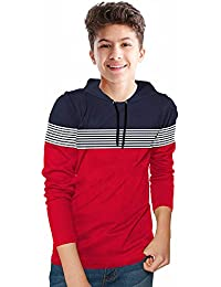 BLIVE Boy's Striped Cotton Blend Hooded Full Sleeves T Shirt | Hoodies | Navy, Red