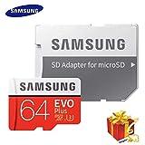 Samsung Carte Mémoire microSDHC Pro Plus 64 Go UHS Classe de Vitesse 3, Classe 10 pour Action Cam, Smartphone et Tablette avec Adaptateur SD (Modèle 2017) Evo Plus 64 go Rouge/Blanc