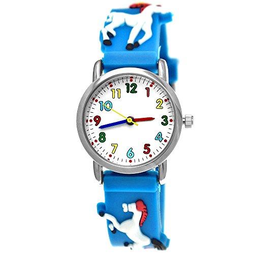 Pure Time Kinder-Uhr Mädchen-Uhr für Kinder Silikon-Kautschuk Armband-Uhr Uhr mit 3d Pferden Pony Motiv Hell-Blau