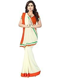 Aaradhya Fashion Women's Faux Georgette Tri-Colour Saree With Blouse Piece (Multicolour_Uniform)