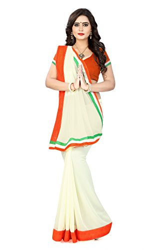 Aaradhya Fashion New Republic day collection Women's Faux Georgette Tri colour Orange...