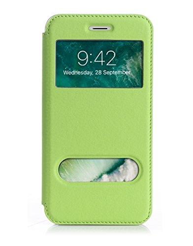 ISIN Cell Teléfono Móvil Series-Funda de Premium PU Smart Cover con View Window para Apple iPhone 7 Plus (Verde)