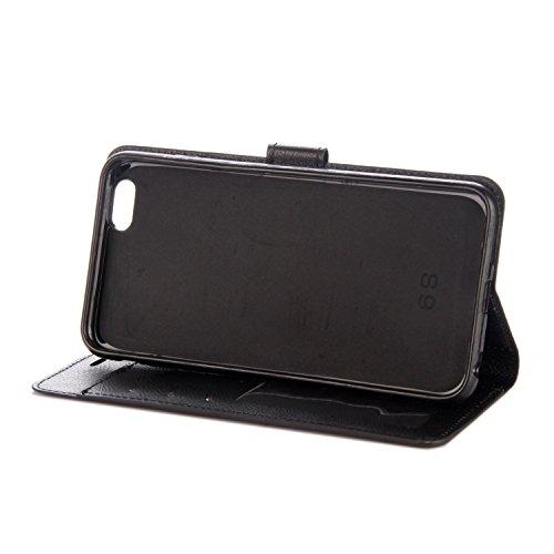 iPhone 6 Plus/6S Plus Coque, Voguecase Étui en cuir synthétique chic avec fonction support pratique pour Apple iPhone 6 Plus/6S Plus 5.5 (Rétro rouge)de Gratuit stylet l'écran aléatoire universelle Rétro noir