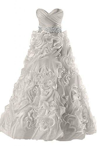 Sunvary Robe Longue Robe de Soir¨¦e Robe de Bal de Party de A-Ligne El¨¦gante sans Bretelles Col en C?ur avec Drap¨¦s, Faux Diamants en Organza Argent¨¦