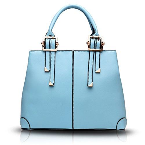 Tisdaini Portafoglio delle borse di affari del sacchetto del messaggero della spalla di modo della borsa dell'unità di elaborazione delle donne Azzurro