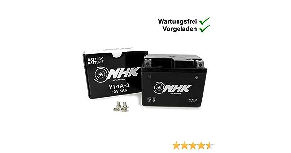Wartungsfreie Gel Batterie 5ah Kompatibel Mit Kymco Super 9 Ac 50 Vitality 50 2t Cross Kb 50 Meteorit Scout 50 Dink 50 Sh10cb Sh10cc Yt4a 3 Auto