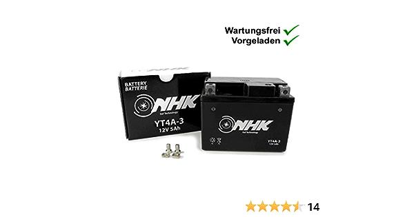 Wartungsfreie Gel Batterie 5ah Kompatibel Mit Atu Explorer Spin Ge50 Race Gt50 Candy 50 Race Gt50 Limited Speed 50 Race Gt50 Iron 50 Yt4a 3 Auto
