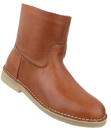 Damen Stiefeletten Schuhe Stiefel Used Optik Leder Boots Schwarz Beige Braun 36 37 38 39 40 41 Camel
