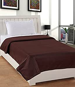 Warmland Polar Fleece Solid Polyester Single Blanket - Coffee