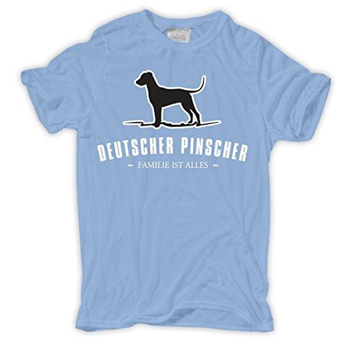 Männer und Herren T-Shirt Deutscher Pinscher - Familie ist alles Größe S - 8XL Hellblau