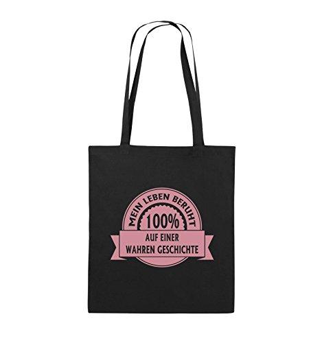 Comedy Bags - Mein Leben beruht 100% auf einer wahren Geschichte - Jutebeutel - lange Henkel - 38x42cm - Farbe: Schwarz / Silber Schwarz / Rosa
