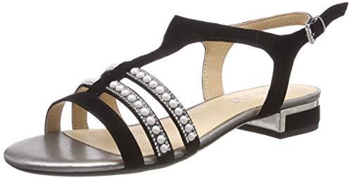 CAPRICE Ariane, Sandali con Cinturino alla Caviglia Donna, Nero (Black Suede 4), 40.5 EU