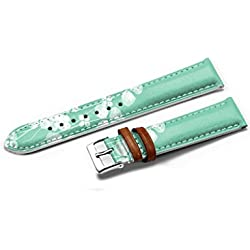 iCreat Women Genuine Leather Replacement Watch Strap Band 14mm - Simple, Doux Vert