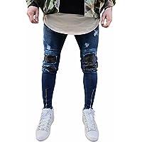 Vaqueros Rotos para Hombre Moda Casual Pantalones Vaqueros Hombre Pitillo Rotos Slim fit Skinny Desgastados