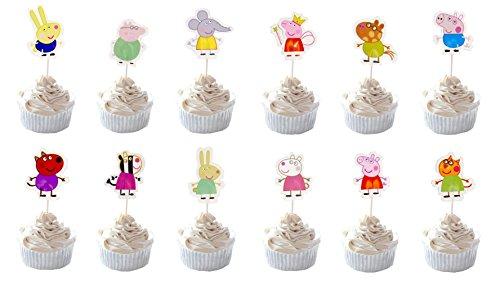 Party Hive 24-Peppa Pig Cupcake Topper für Geburtstag Party Event Decor (Sortierung 1) (Cupcake Topper Pig Peppa)